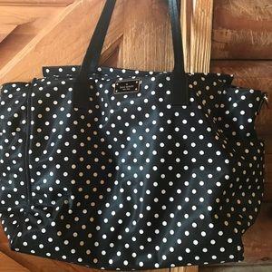 Black and white polka dot Kate Spade diaper bag